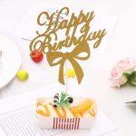 happy birthday bow topper – golden