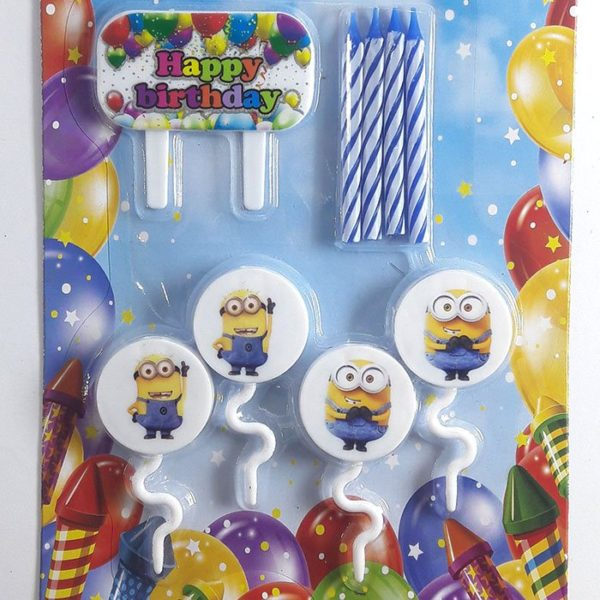 Candles With Holders Minion Birthday Party Decoration